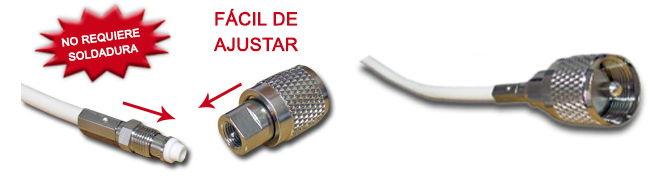Base de antena VHF plástica quita y pon, cable con conexión fast fit para caños de 1