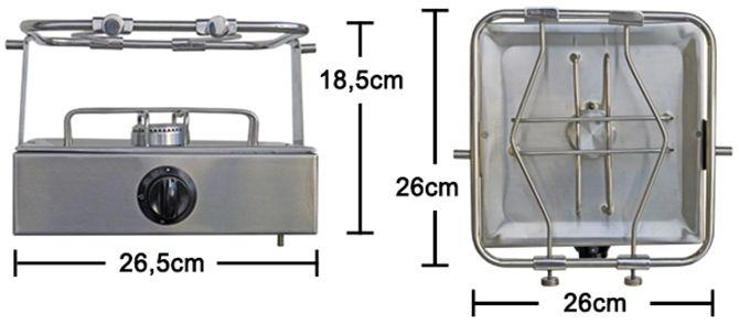 Anafe de acero inoxidable 1 hornalla c/válvula y prensa olla