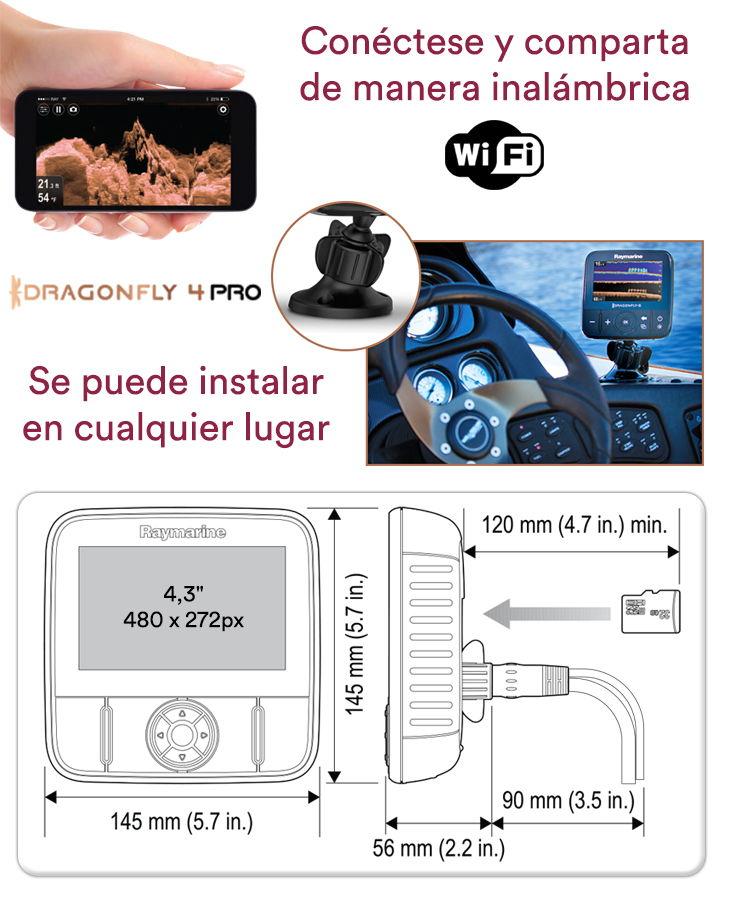 Ecosonda Fishfinder Raymarine Dragonfly 4PRO plotter GPS c/ carta y sensor